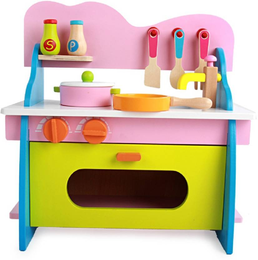 Kitchen Set Toys Online India: Montez Wooden Kitchen Set Puzzle Toy For Kids