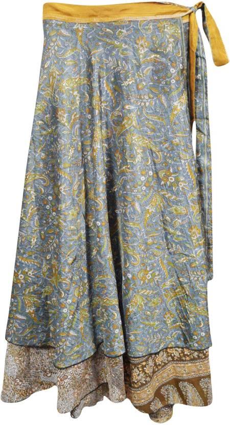Indiatrendzs Printed Women's Wrap Around Grey Skirt