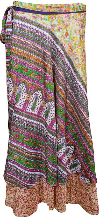 Indiatrendzs Floral Print Women's Wrap Around Multicolor Skirt