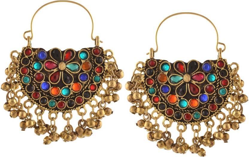 84eb718d290e Flipkart.com - Buy Zephyrr Fashion German Silver Afghani Tribal Dangler  Hoop Chandbali Earrings Alloy Dangle Earring Online at Best Prices in India