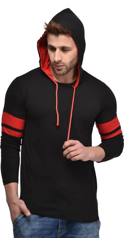 Kay Dee Solid Mens Hooded Black T-Shirt