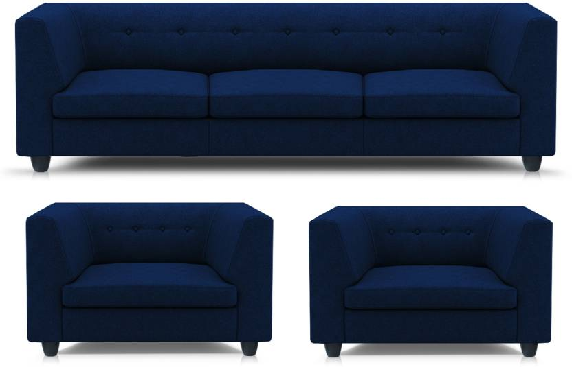 Adorn homez Modern Fabric 3 + 1 + 1 Navy Blue Sofa Set Price in ...