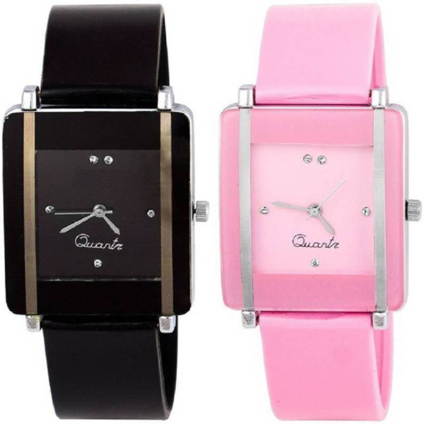 ReniSales SQUARE DIAL PINK BLACK COMBO FOR YOUR FASHION Analog Watch - For Women