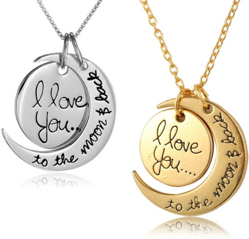 Love Symbol I Love You To The Moon Back Pendant Necklace Alloy