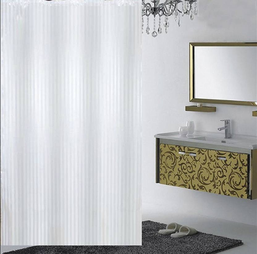 YELLOW WEAVES 213 Cm 7 Ft PVC Shower Curtain Single Striped White