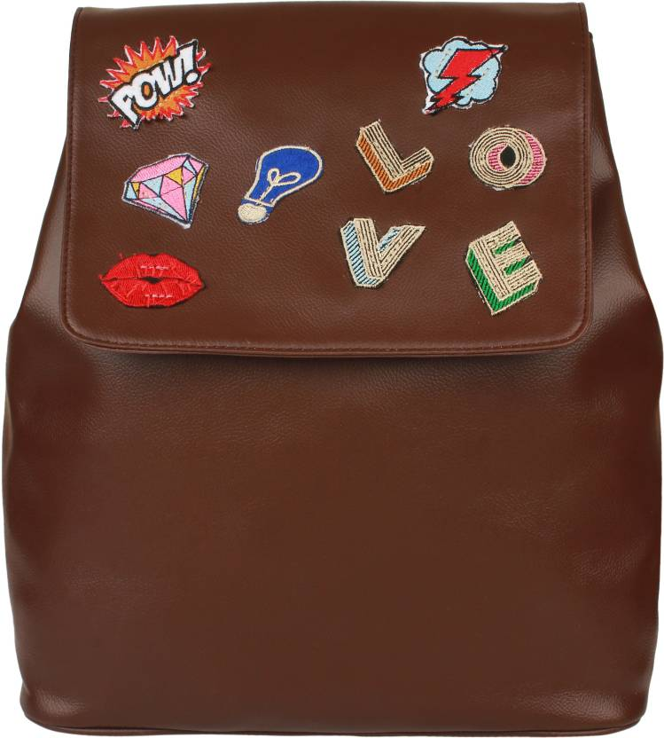 d9a372e872f5 20 Dresses Love patched up 15.5 L Backpack Brown - Price in India ...