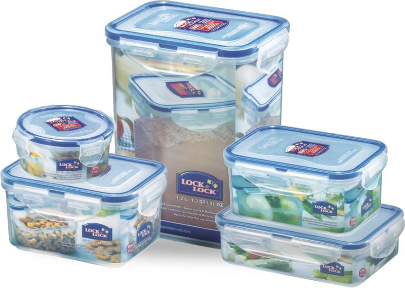 Lock & Lock Classic Set Of 5 Pcs -IV - 470 ml, 600 ml, 550 ml, 300 ml, 1.2 L Polypropylene Grocery Container (Pack of 5, Clear)