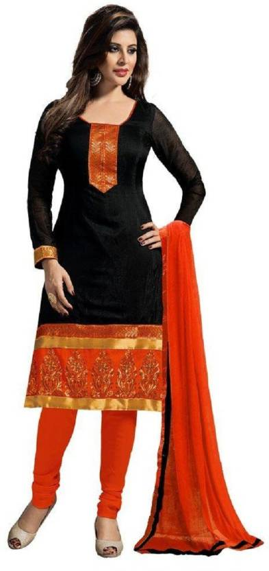 BR Fashion Cotton Embroidered Semi-stitched Salwar Suit Dupatta Material