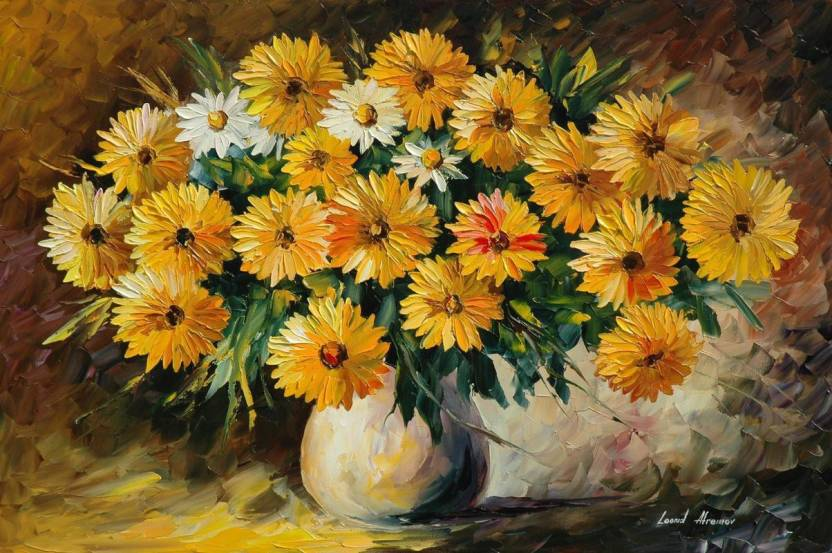 painting flowers vase bouquet HD Wallpaper on Art Paper Fine Art ...
