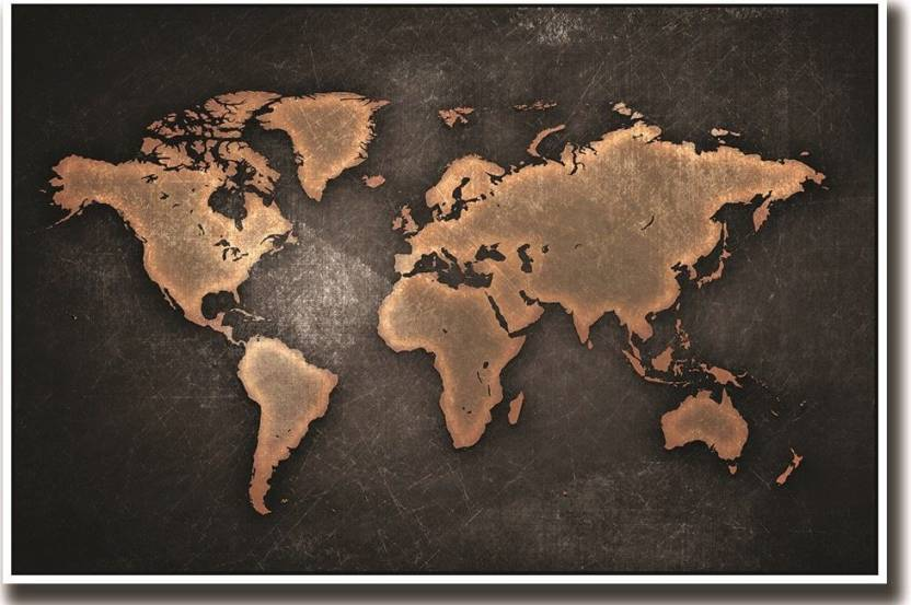 World map in bronze colour fine art paper print poster on fine art world map in bronze colour fine art paper print poster on fine art paper 13x19 fine gumiabroncs Gallery
