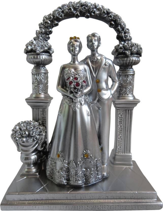 Hickoo Silver Finish Love Couple Statue Showpiece Romantic