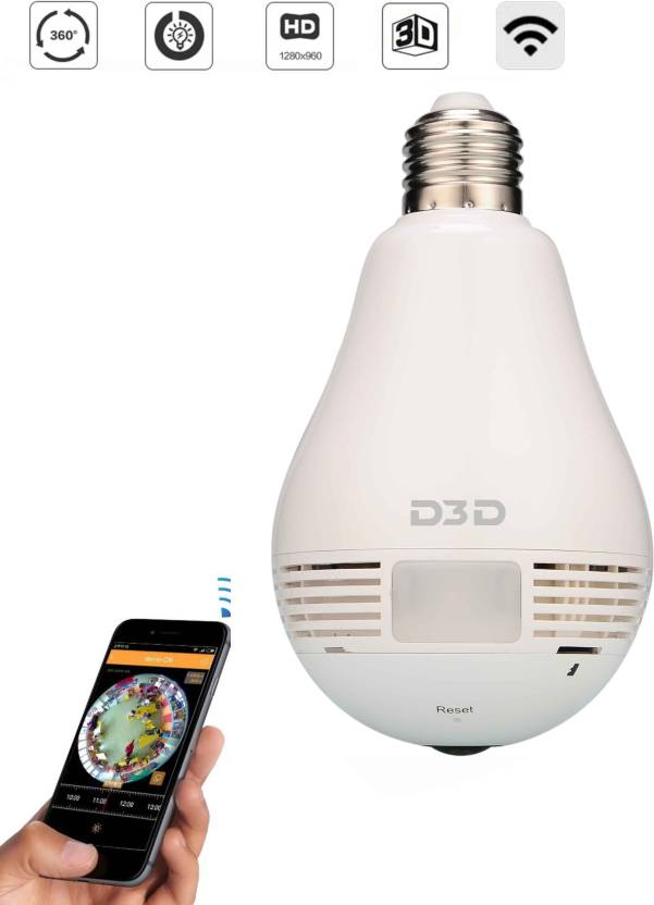 D3D Wireless Panoramic Bulb 360° IP Camera Home Security Camera