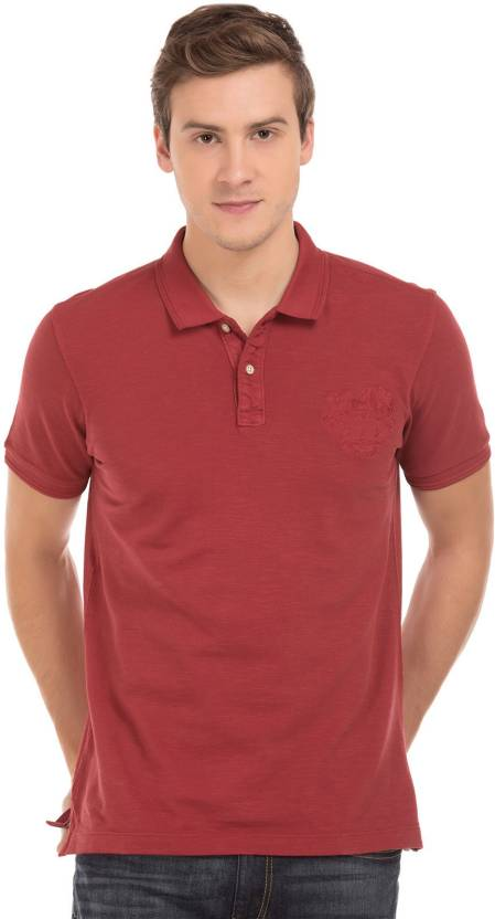 9d22df8001 Arrow Blue Jean Company Solid Men s Polo Neck Maroon T-Shirt - Buy ...