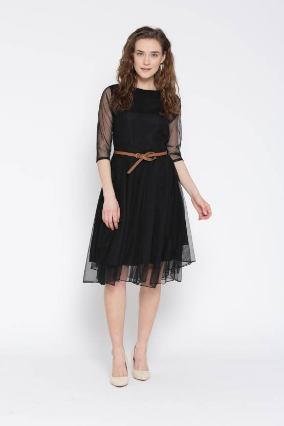 U&F Womens Fit and Flare Black Dress