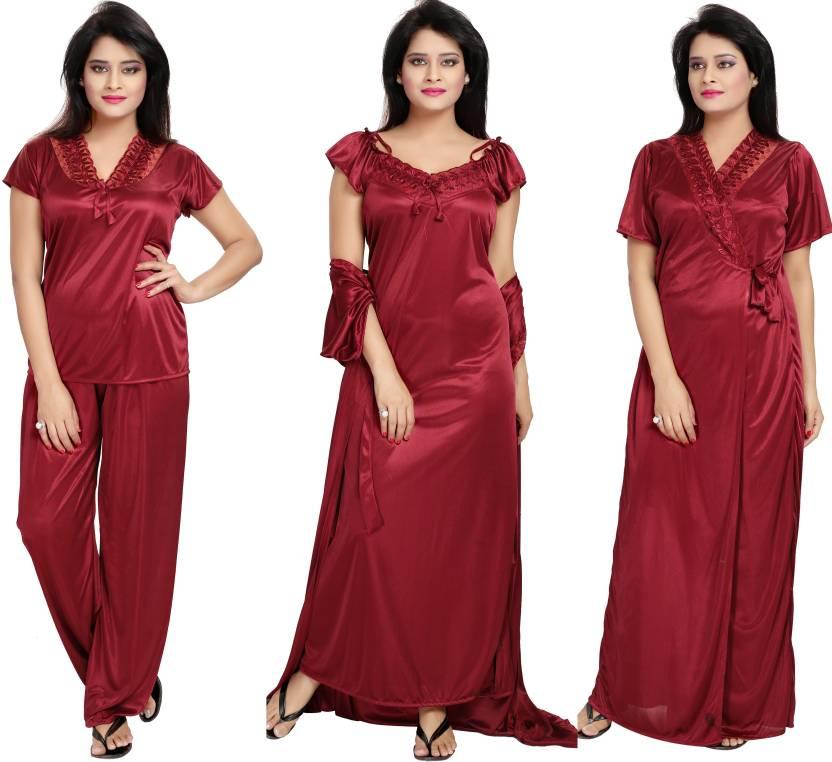 70f89352a4 Noty Women Nighty - Buy Maroon Noty Women Nighty Online at Best ...