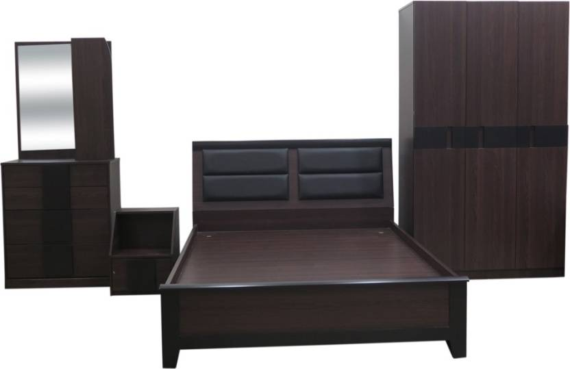 Eros Engineered Wood Bed + Side Table + Wardrobe + Dressing Table ...