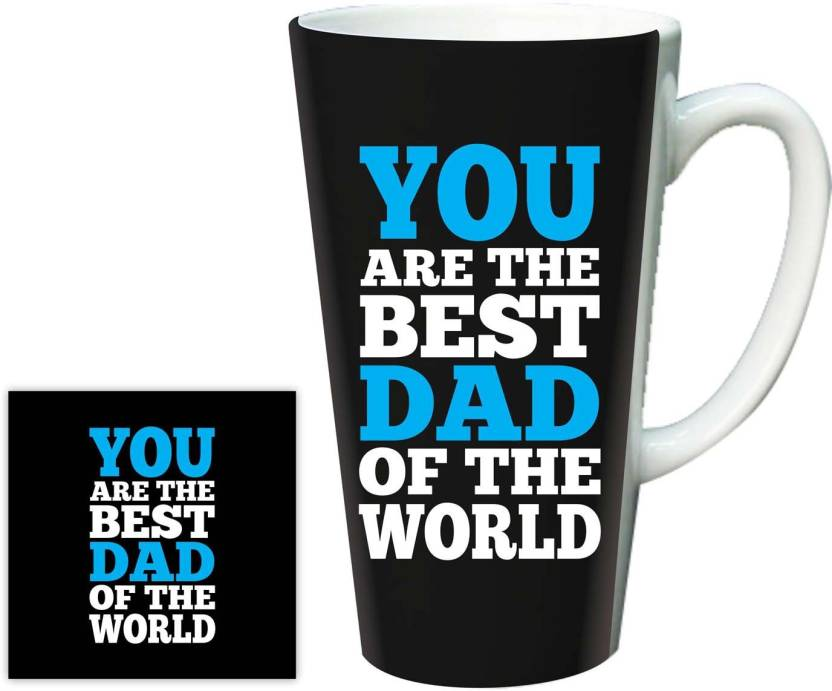 Giftsmate Birthday Gifts For Dad From Daughter Worlds Best Latte With Coaster Ceramic Mug