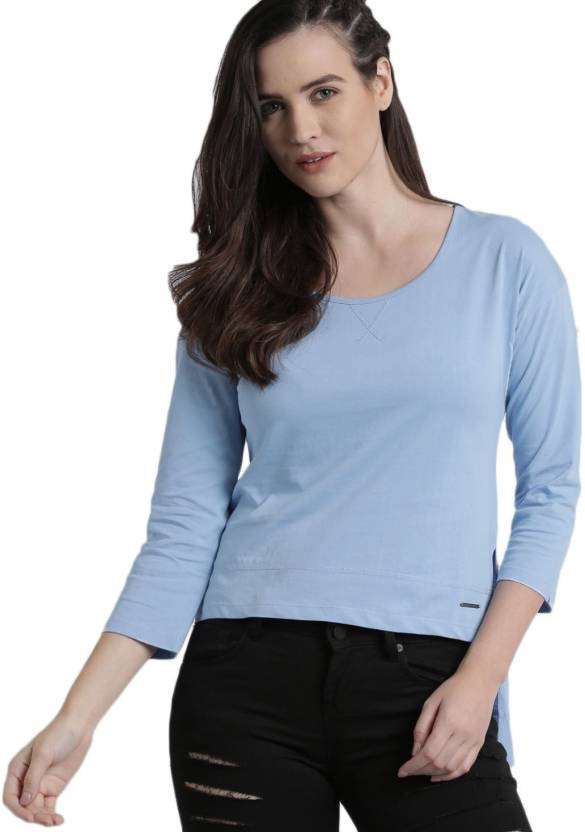 1afbffa747432 Roadster Solid Women s Round Neck Blue T-Shirt - Buy Roadster Solid Women s  Round Neck Blue T-Shirt Online at Best Prices in India