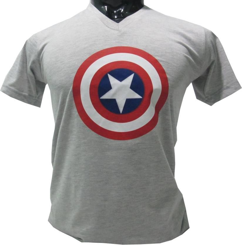 BlueB Printed Men's V-neck Grey T-Shirt