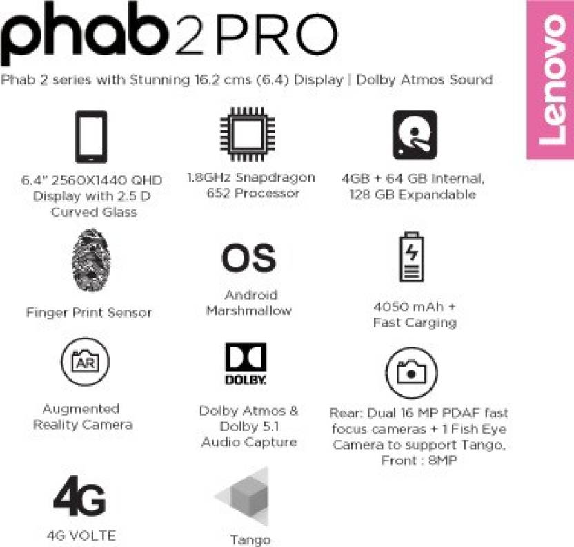 Lenovo Phab 2 Pro 64 GB 6.4 inch with Wi-Fi+4G