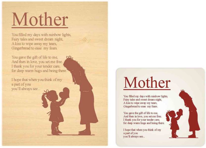 Giftsmate Birthday Gifts For Mother Engraved Poem Plaque 9x12 Inches Mom Showpiece Gift