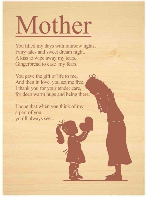 Giftsmate Birthday Gifts For Mother Engraved Poem Plaque 12x18 Inches Mom Showpiece Gift Set Price In India