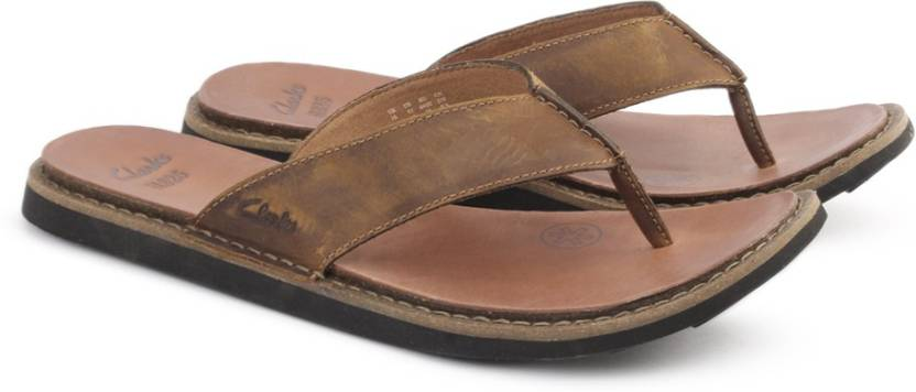 7e63aad5ac60 Clarks LYNTON POST TAN LEATHER Flip Flops - Buy Tan Leather Color ...