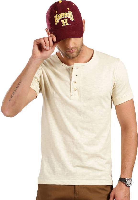 d8cfd816 Harvard Solid Men's Henley White T-Shirt - Buy Harvard Solid Men's Henley  White T-Shirt Online at Best Prices in India | Flipkart.com