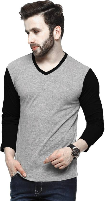 f475cbd56 Tripr Self Design Men's V-neck Multicolor, Grey, Black T-Shirt - Buy Grey  Black Tripr Self Design Men's V-neck Multicolor, Grey, Black T-Shirt Online  at ...