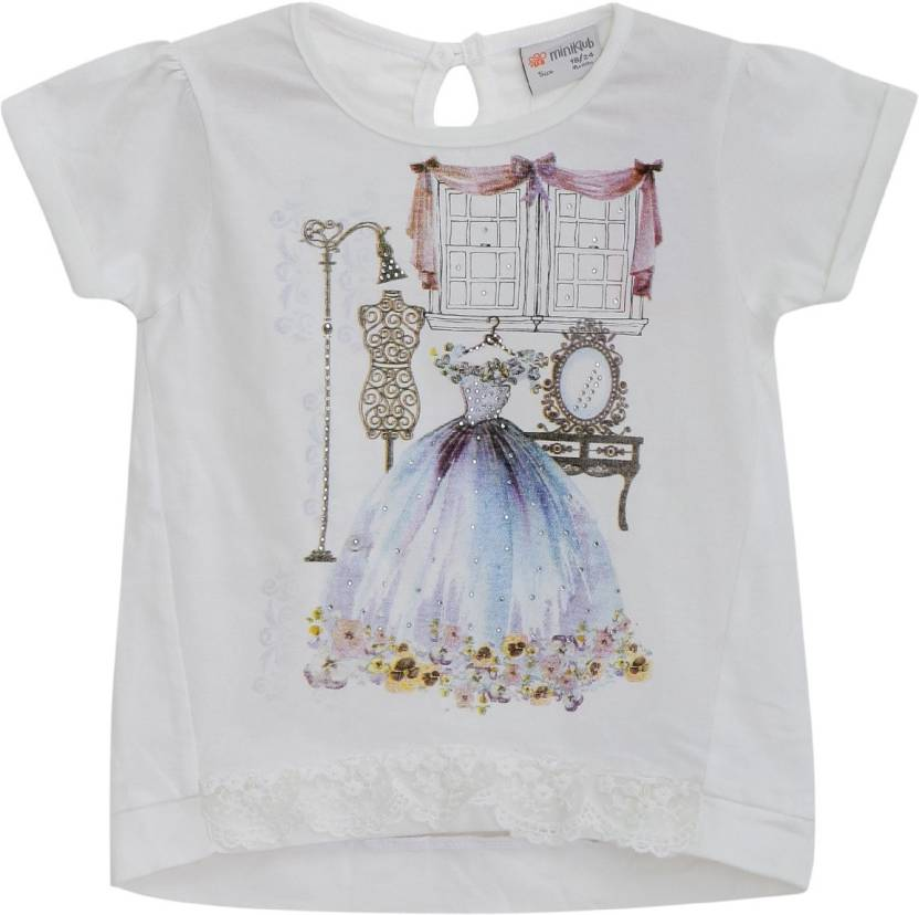 adea8666c8f69 FS Mini Klub Girls Applique Cotton T Shirt Price in India - Buy FS ...