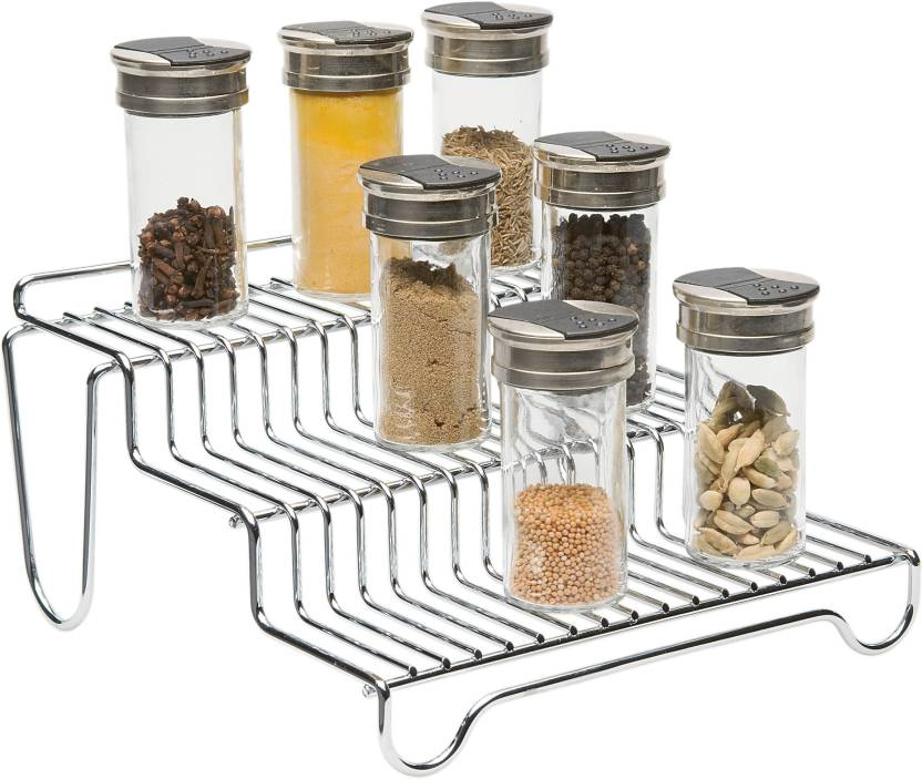 Howards 3 Tier Step Spice Rack Steel Kitchen Rack (Steel)