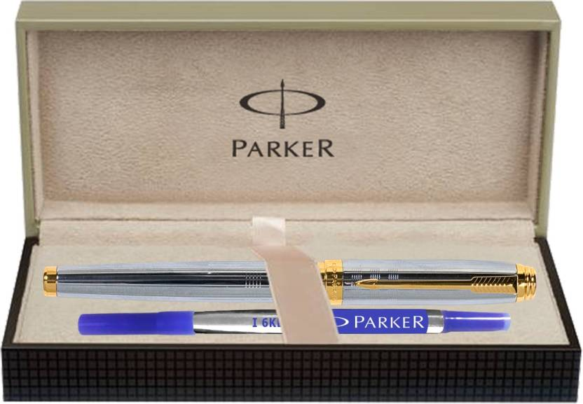 Parker Ambient Shiny Chrome Chiselled GT Roller Ball Pen