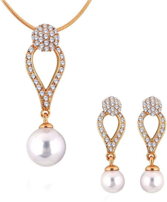 8d58182e2ac79 Spargz Tansy AD Stone Pendant Necklace and Drop Earrings For Women  Gold-plated Diamond Alloy Pendant Set