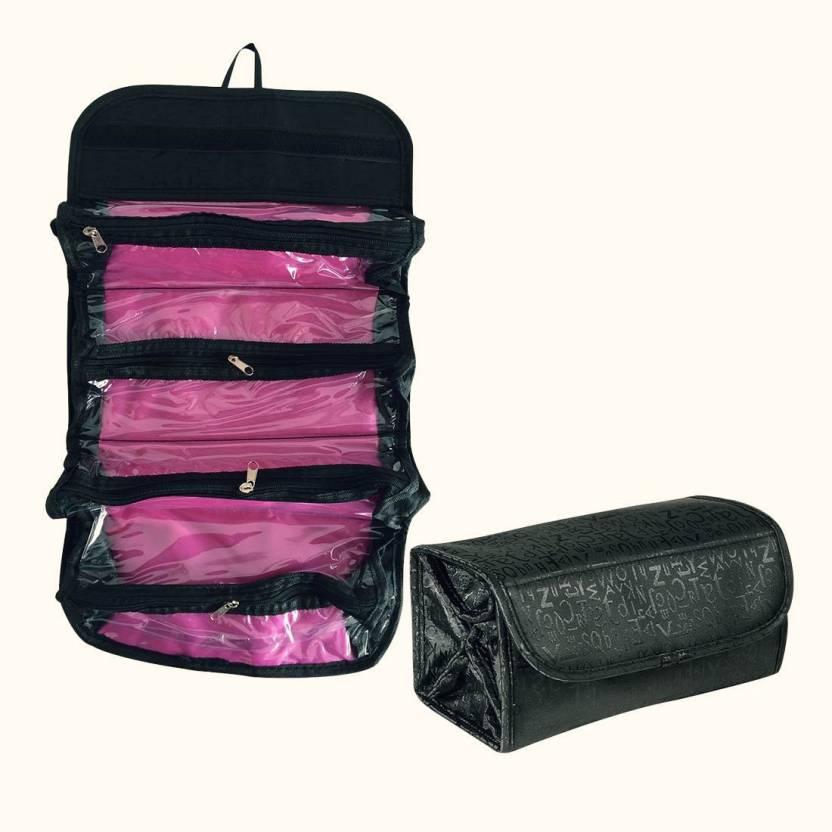 5117bde50e04 Shadow Fax Genuine 4 in 1 Travel Buddy Roll N Go Cosmetic Bag Toiletry  Jewelery Organizer (Black)