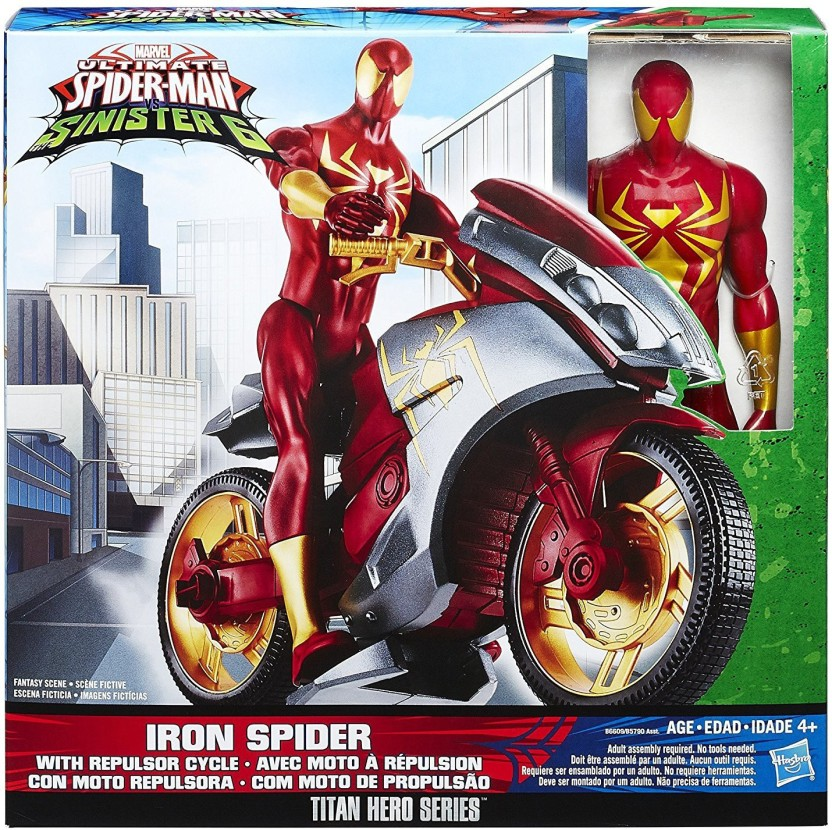 Funskool Iron Spider With Repulsor Cycle   Ultimate Spider Man Vs. The  Sinister Six
