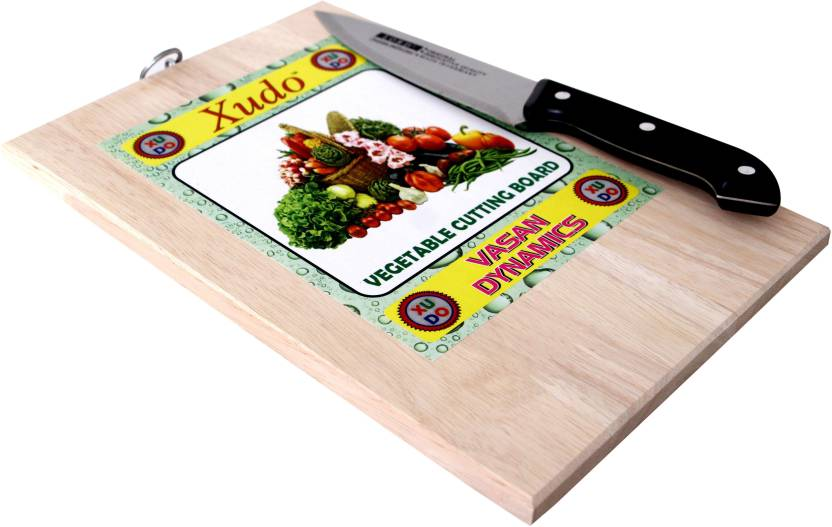 Xudo 30x20 Wooden Vegetable And Fruit Cutting Board With Knife