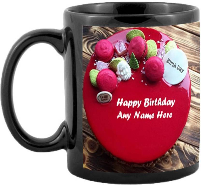 JMDPrints Personalized HAPPY BIRTHDAY YOUR NAME ON CAKE Printed Black Color Coffee To Gift Ceramic Mug 325 Ml