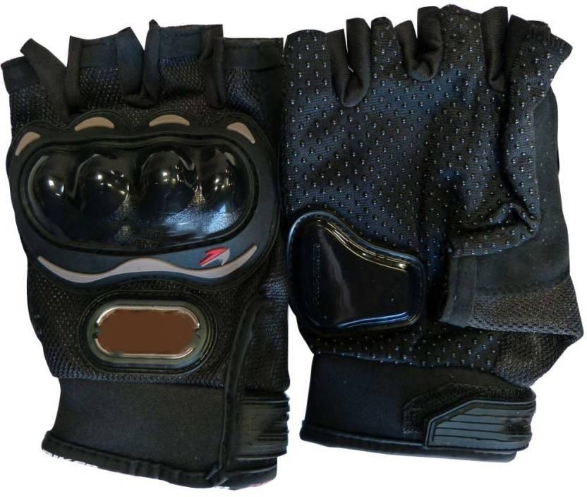 ShoppingKiSite Impact Resistant Hard Knuckle Tactical Motorcycle Bike  Riding Shockproof Outdoor Half Finger Black Large Gloves for Men Riding  Gloves