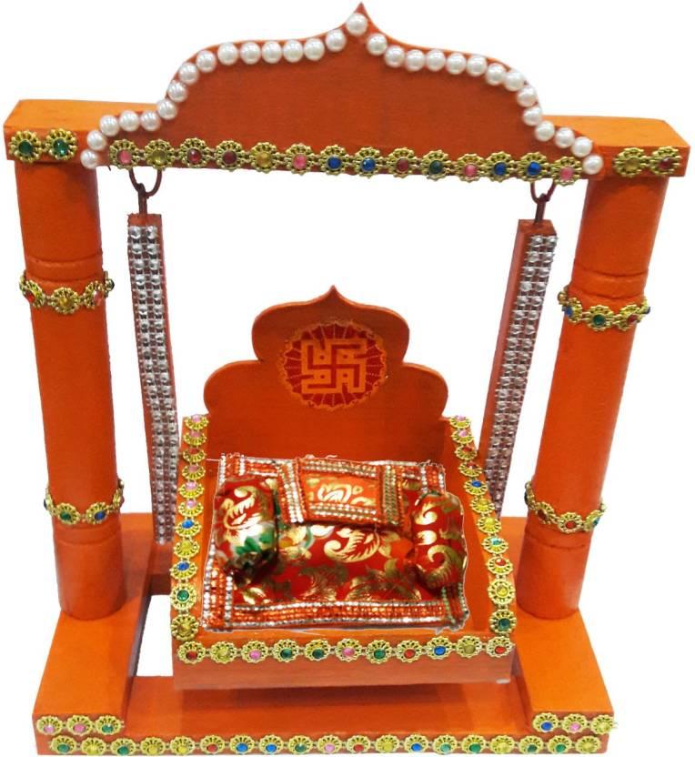 Craftera Wooden Handmade Decorated Orange Color Krishna Laddu Gopal