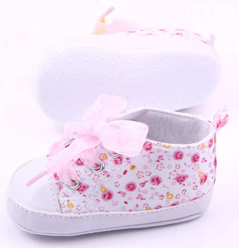 Oosme Pink Cotton Fabric New Born Baby Girl Shoes Booties (Toe to Heel  Length - 12 cm Baby Pink) 0517f786a