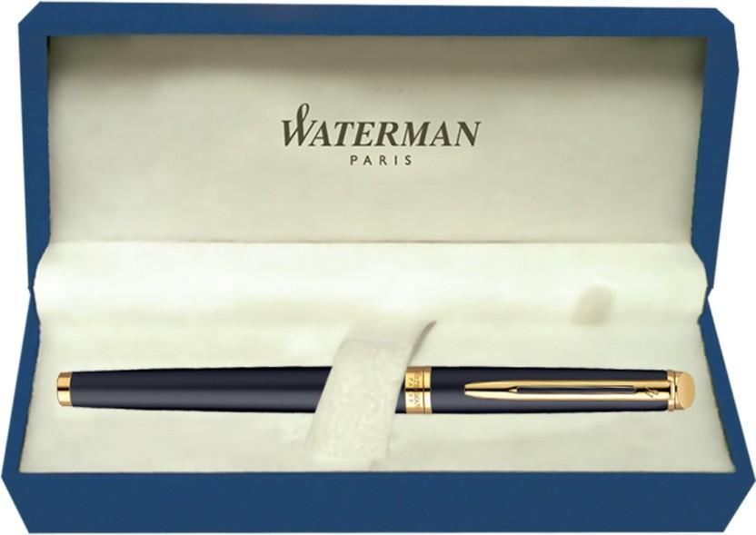 Vintage Waterman Reflex Ultramarine Blue Fine Fountain Pen Satin Chrome Cap
