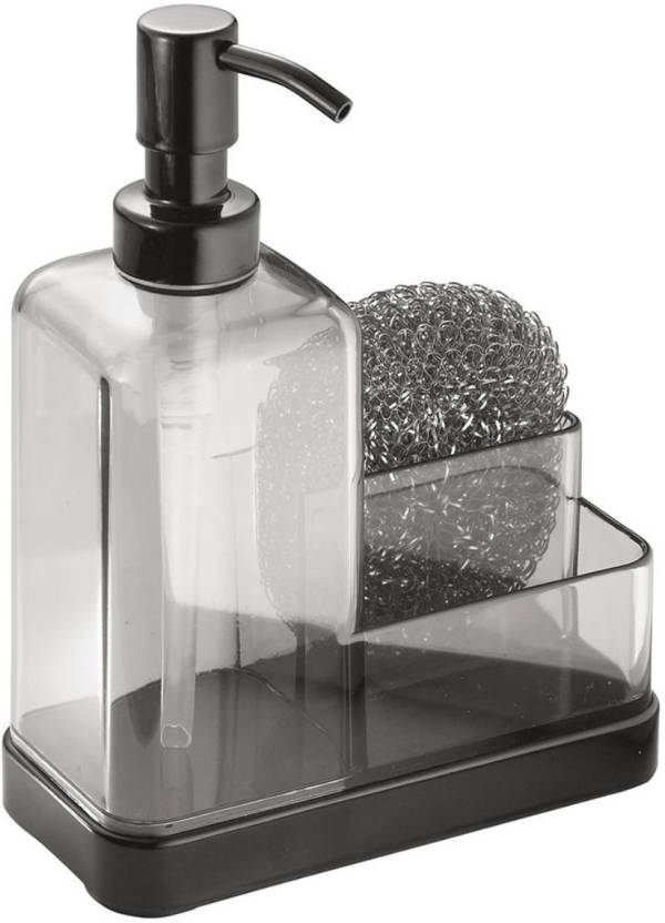 Interdesign Soap Dispenser Pump With Sponge And Scrubber Organizer For Kitchen Countertops Graphite Matte