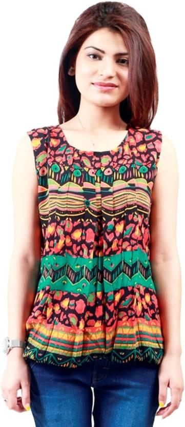 Antistreet Beach Wear Sleeveless Printed Women's Multicolor Top