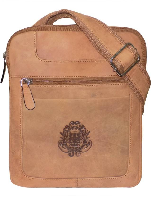 Style 98 Men Casual Tan Genuine Leather Messenger Bag Tan - Price in India   97bce6335ad3b