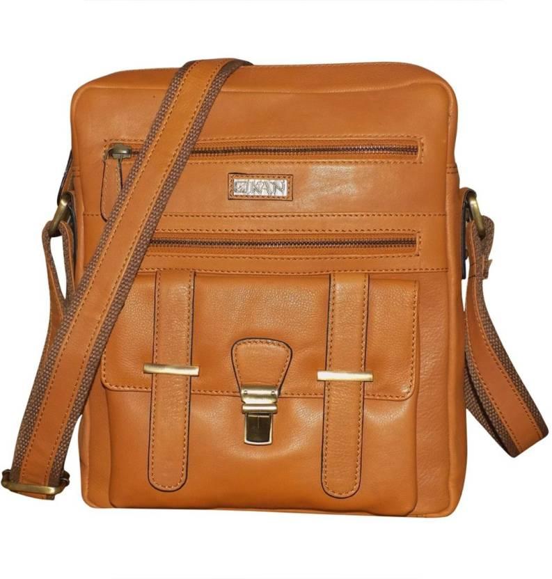 Kan Brown Premium Quality Leather Sling Bag Shoulder Bag Backpack for Men    Women 7 L Backpack (Tan) e97d6411c3d93