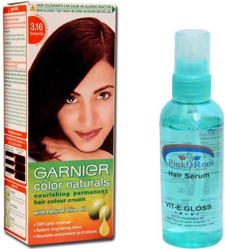 Garnier Burgundy Hair Colour With Pink Root Hair Serum Price In