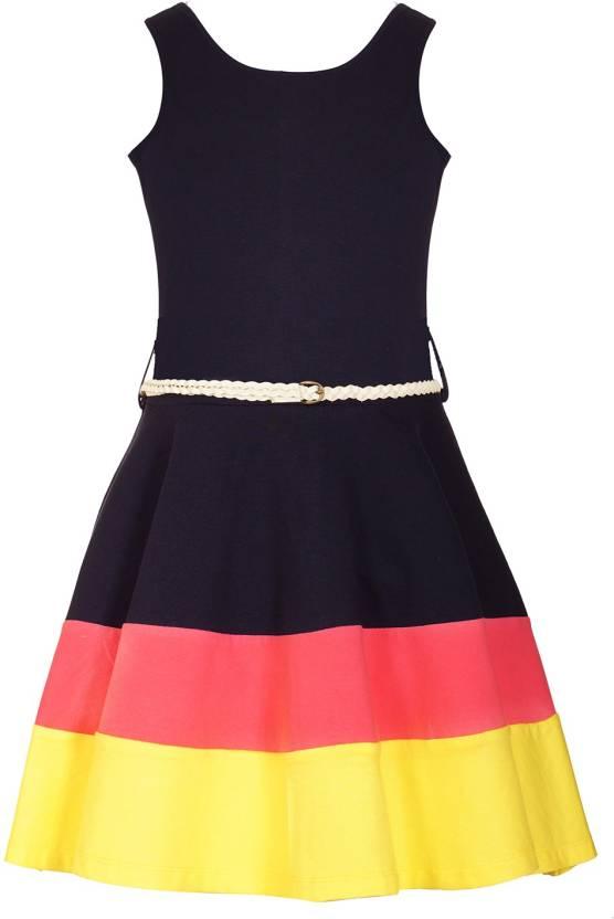 Naughty Ninos Girls Midi/Knee Length Casual Dress(Blue, Sleeveless)