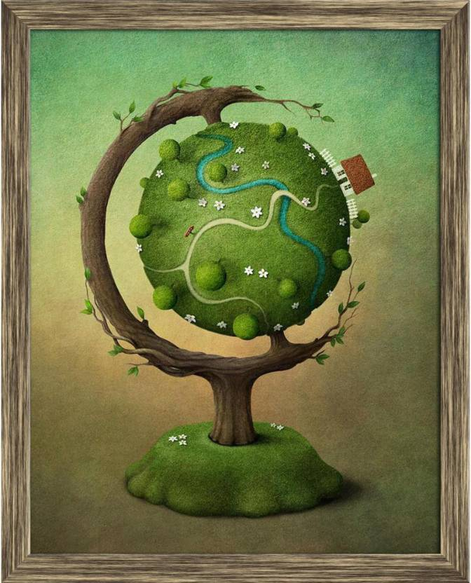 Artzfolio Globe With House Garden And Road Framed Wall Art