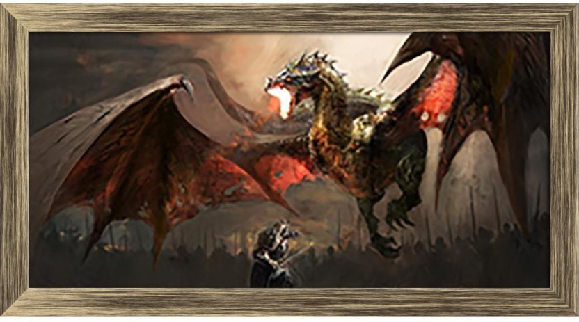 ArtzFolio Knight Fighting Dragon Framed Wall Art Painting