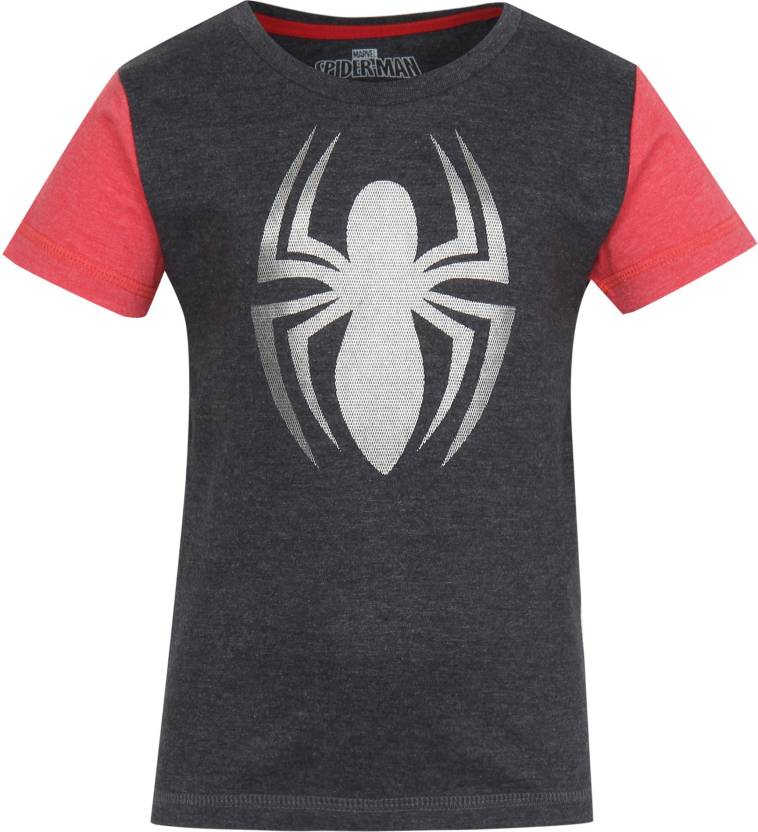 d9229c57 Spiderman Boys Graphic Print Cotton Polyester Blend T Shirt (Grey, Pack of  1)